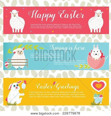 Vector Illustration. Holiday Bright Banners With Easter Rabbits, Sheep And Eggs