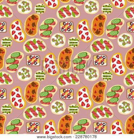 Breakfast Toast Seamless Pattern Backgroun Slices Toasted Crust Sandwich Fried Toaster Cartoon Style
