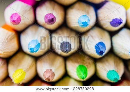 Pencil And Pencils At High Magnification. Stylus And Crayon Pencil For Drawing And Sketching For Car