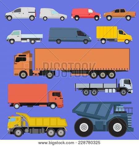 Trucks Icons Set Vector Shipping Cars Vehicles Cargo Transportation By Road. Delivery Vehicle Car Sh
