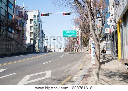 Seoul, Korea - February 17,2018: Walking Street On Weather Quite Sunny In Winter At A Small Road In