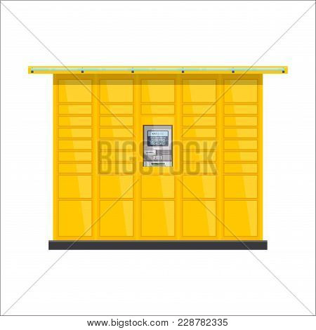 Vector Post Automat Illustration. Postomat Branded Self-service Boxes. Modern Technology Delivery Se