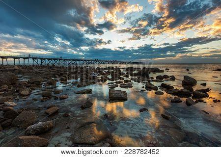 Sunset At The Port Hughes Jetty On Yorke Peninsula In South Australia Australia On 22Nd February 201