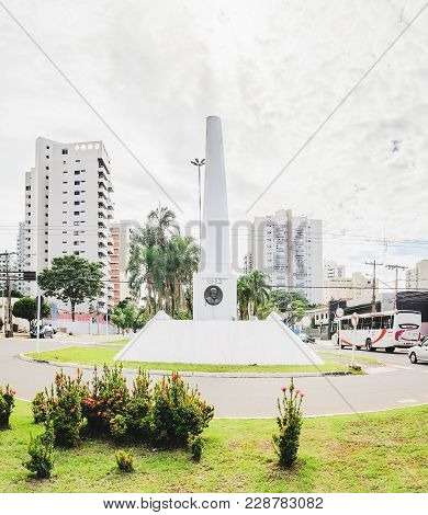 White Obelisk On Downtown Of The City On The Afonso Pena Avenue In Tribute To Jose Antonio Pereira T