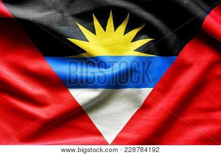 Antigua And Barbuda Flag Waving - Close Up Fabric Background