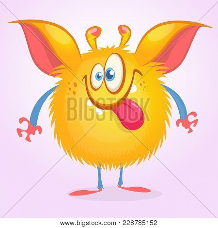 Cute Cartoon Orange Monster Showing Tongue. Vector Monster Character Illustration Isolated On White.