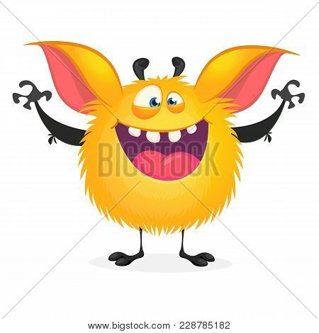 Cute Happy Orange Monster Laughing Excited. Vector Illustration Of Furry Round Troll