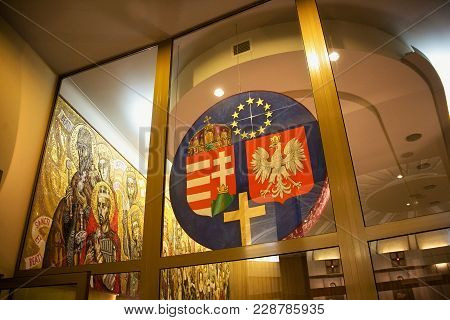 Krakow, Poland - May 28, 2016: Coats Of Arms Of Hungary And Poland In Basilica Of The Divine Mercy O