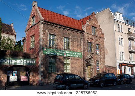 Gdansk, Poland - June 07, 2014: Old Brick Building On The Podmlynska Street In Historical Part Of Gd