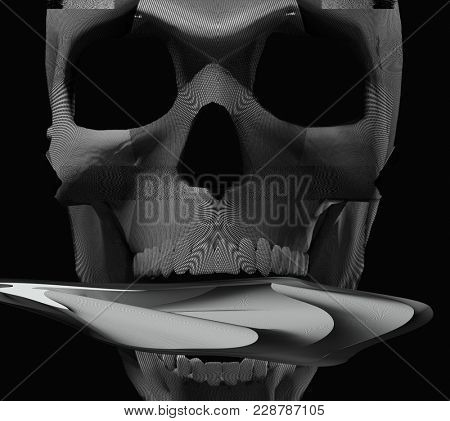 abstract psychedelic glitched scull