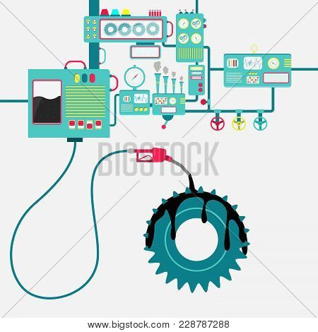 Machinery Of Factory Refining Oil And Spilling On The Gear. Gear Being Lubricated By Oil. Conceptual