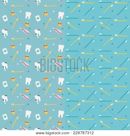 Pattern Of Dental Care With Tooth, Toothpaste, Toothbrush, Dental Floss. Seamless. Two Background.