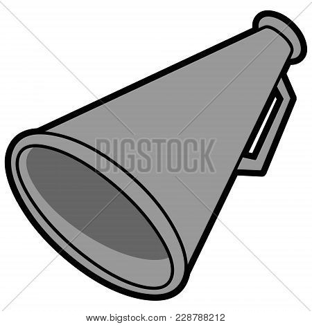 Megaphone Illustration - A Vector Cartoon Illustration Of A Cheerleader Megaphone.
