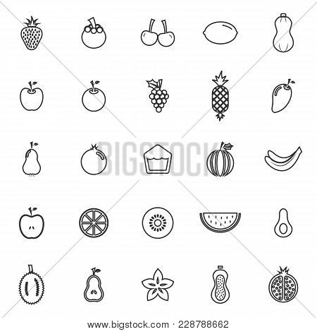 Fruit Line Icons On White Background, Stock Vector