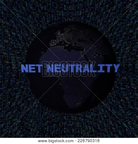 Net Neutrality text with earth by night and blue hex code 3d illustration - elements of this image furnished by NASA