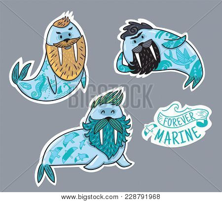 Vector Stickers With Cartoon Characters Of Funny Walruses With Different Haircuts, Beards And Tattoo