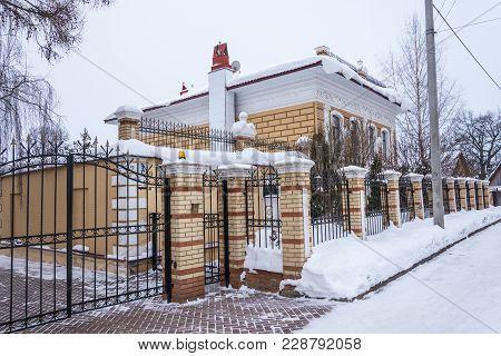 Beautiful Stone House With Lions February 17, 2018 In The Village Of Vyatskoye, Yaroslavl Region, Ru