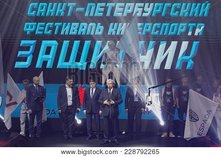 ST. PETERSBURG, RUSSIA - FEBRUARY22, 2018: Governor of St. Petersburg Georgy Poltavchenko on the opening ceremony of St. Petersburg Cyber-Sport Festival. Main event is Counter-Strike tournament