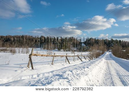 A Beautiful Winter Landscape In A Sunny Frosty Day.