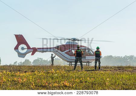 Nakhon Ratchasima, Thailand - December 23, 2017: Helicopter Landing To Carry Injured Passenger To Ho