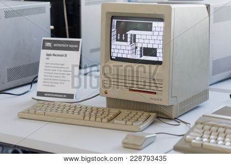 ST. PETERSBURG, RUSSIA - FEBRUARY 22, 2018: Retro computer Apple Macintosh SE on the exhibition of retro computers during St. Petersburg Cyber-Sport Festival. This PC was built in 1987