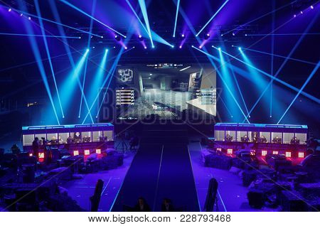ST. PETERSBURG, RUSSIA - FEBRUARY 22, 2018: Teams of gamers during St. Petersburg Cyber-Sport Festival. Main event of the festival is the Counter-Strike: Global Offensive tournament