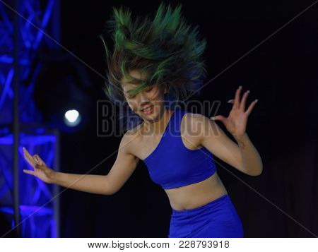 SAINT-PETERSBURG, RUSSIA - FEBRUARY 6, 2018: Ji Ju performs the dance Edge Of Haven during the Dance festival of young people of China and Russia. Six choreographic groups take part in the event