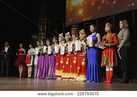 SAINT-PETERSBURG, RUSSIA - FEBRUARY 6, 2018: Award ceremony of the Dance festival of young people of China and Russia. Six choreographic groups take part in the event
