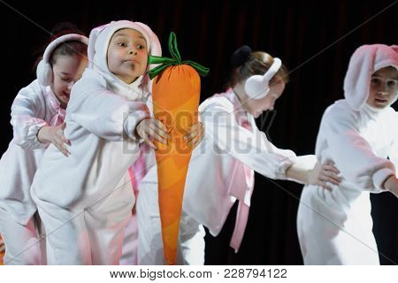 SAINT-PETERSBURG, RUSSIA - FEBRUARY 6, 2018: Dance Hare Fun performed by choreographic group Sozvezdie during the Dance festival of young people of China and Russia. Six choreographic groups take part