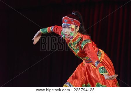 SAINT-PETERSBURG, RUSSIA - FEBRUARY 6, 2018: Zheng Jiaxi performs the Chinese dance during the Dance festival of young people of China and Russia. Six choreographic groups take part in the event
