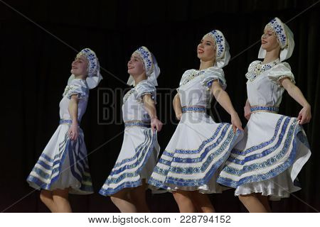 SAINT-PETERSBURG, RUSSIA - FEBRUARY 6, 2018: Dance Kerchief performed by choreographic group Sozvezdie during the Dance festival of young people of China and Russia. Six choreographic groups take part