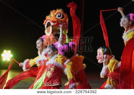 SAINT-PETERSBURG, RUSSIA - FEBRUARY 6, 2018: Dance group Bihua performs the dance Children Of Lion during the Dance festival of young people of China and Russia. Six choreographic groups take part