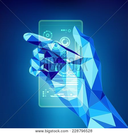 Graphic Of Blue Polygon Hand Holding Futuristic Device
