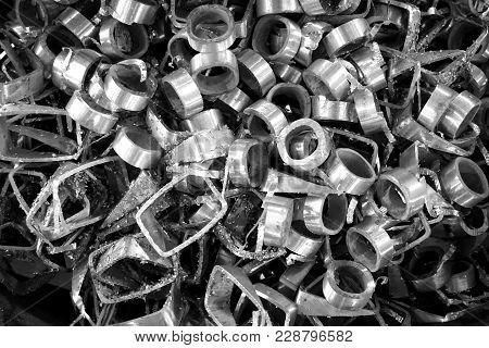 Group Of Metal Scrap In The Factory