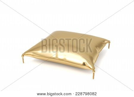 3d Rendering Of A Pillow Made Of Golden Fabric With Gold Trim And Intricate Tassels. Home Textile. W