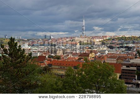 Prague, Czech Republic - October 8, 2017: Zizkov Television tower above the city horizon in autumn
