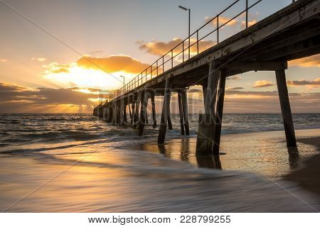 Sunset Over The Jetty At Port Noarlunga South Australia Australia On The 25Th February 2018