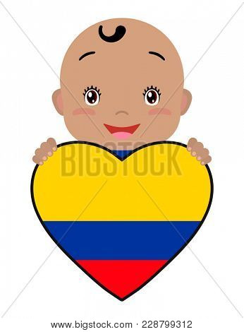 Baby and a Colombia flag in the shape of a heart. Smiling face of a child, symbol of patriotism, independence, travel, emblem of love.