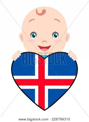 Baby and a Iceland flag in the shape of a heart. Smiling face of a child, symbol of patriotism, independence, travel, emblem of love.