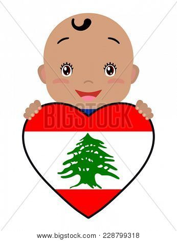Baby and a Lebanon flag in the shape of a heart. Smiling face of a child, symbol of patriotism, independence, travel, emblem of love.