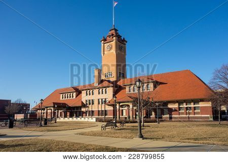 Historic Union Station Train Station Depot In Springfield, Illinois, Across From The Abraham Lincoln