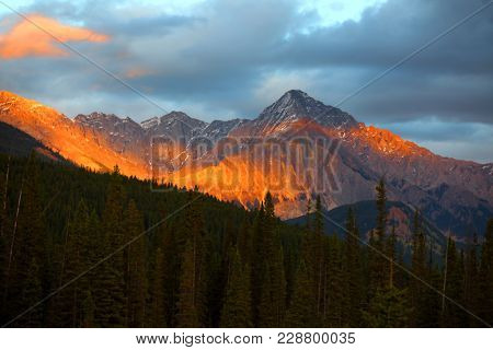 Evening sun light on Canadian rocky mountains