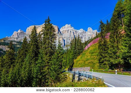 The road passes in the coniferous forests in limestone and dolomite rocks. Dolomite Alps. The beautiful sunny day. The concept of active, extreme and automobile tourism