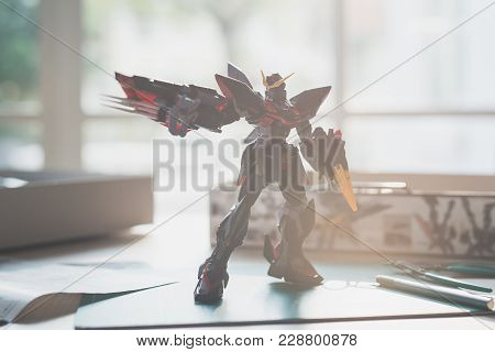 Bangkok, Thailand - December 13, 2017: Plastic Model Of Gat-x207 Blitz Gundam  Master Grade Scale 1: