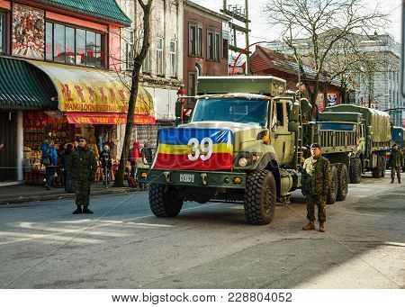 Vancouver, Canada - February 18, 2018: Canadian Soldiers In Vancouver Chinatown, During Chinese New