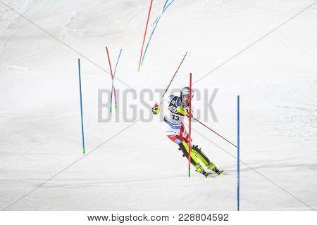 Zagreb, Croatia - January 4, 2018 : Yule Daniel Of Sui Competes During The Audi Fis Alpine Ski World