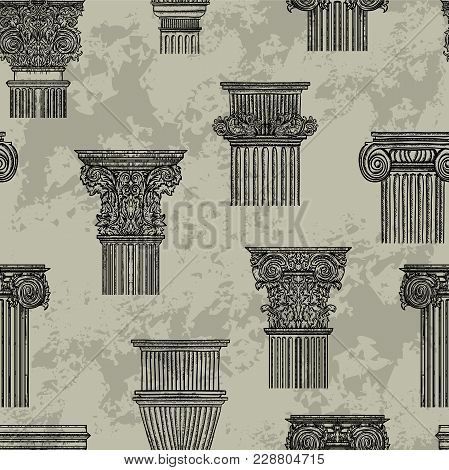 Seamless Pattern With Vintage Architectural Details Design Elements. Antique Baroque Classic Style C
