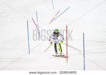 Zagreb, Croatia - January 4, 2018 : Matt Michael Of Aut Competes During The Audi Fis Alpine Ski Worl