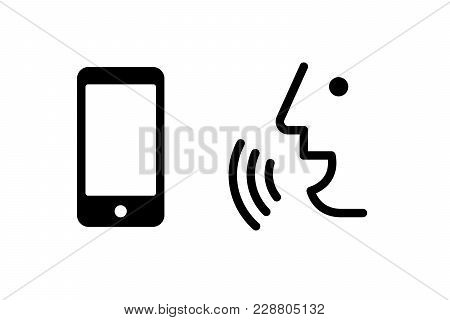 Voice Recognition Concept. Voice Control Mobile, Smartphone Icon. Black Line, Online, Thin Trendy Lo