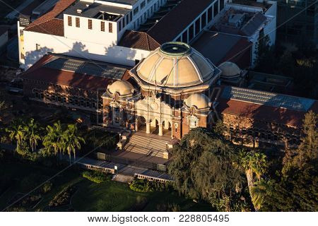 Los Angeles, California, USA - February 20, 2018:  Aerial view of the LA County Natural History Museum in Exposition Park near USC Campus.